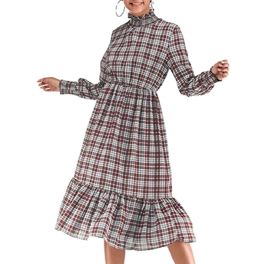 786a7d2824cc Aooword Women Long Sleeve Ruffle Gingham Tunic Swing Midi A-Line Dress at  Amazon Women's Clothing store: