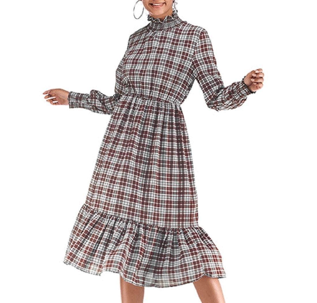 786a7d2824cc Aooword Women Long Sleeve Ruffle Gingham Tunic Swing Midi A-Line Dress at  Amazon Women's Clothing store: