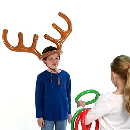 c19fe2a3414e7 Image Unavailable. Image not available for. Color  preliked Funny Inflatable  Reindeer Antler Hat Ring Toss Christmas Party Game Toy Gift