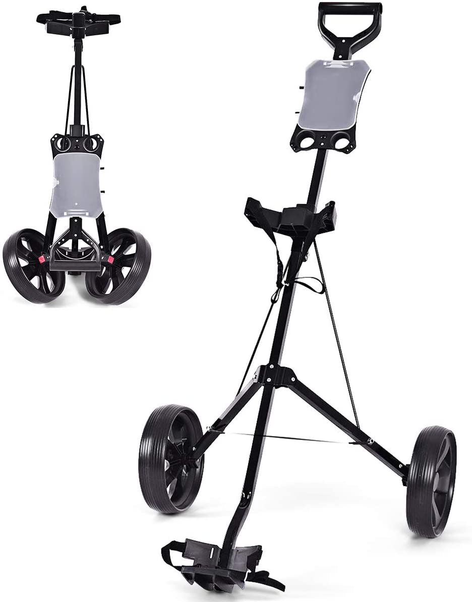 Tangkula Golf Cart Foldable 2 Wheel Push Pull Cart Trolley
