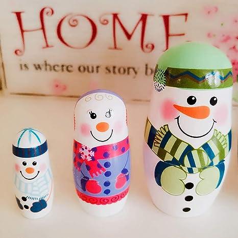kangOnline - Muñeco de nieve de Navidad ruso de madera para niños juguetes regalo 5 unids/set: Amazon.es: Juguetes y juegos