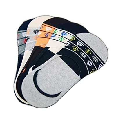 L04BABY Men's 5 Pairs No Show Low Cut Funky Novelty Printing Summer Casual Socks at Men's Clothing store