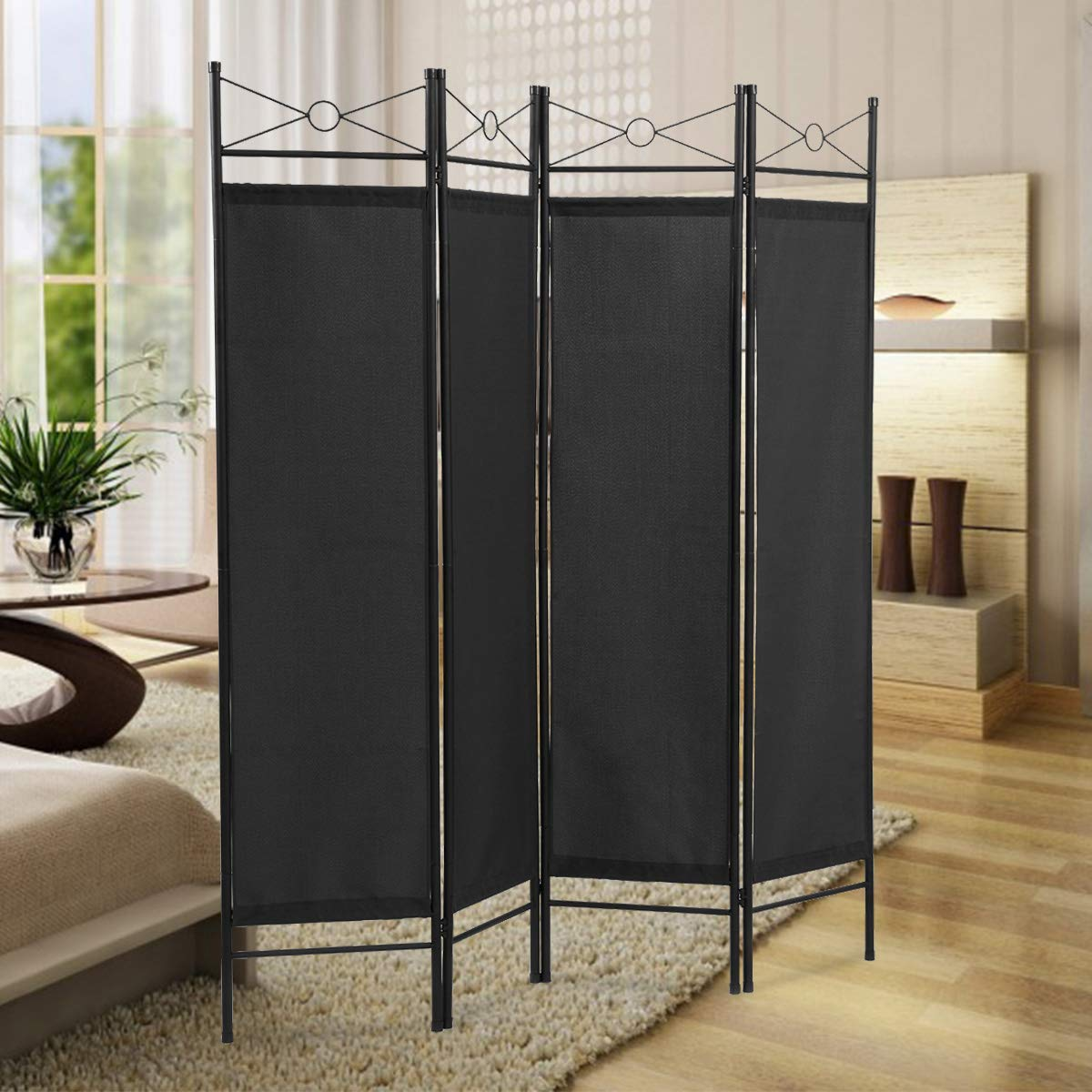 Sandinrayli 4-Panel Steel Room Divider Screen Fabric Folding Partition Home Office Privacy Screen, Black: Industrial & Scientific
