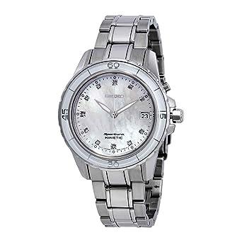 Amazon.com  Seiko Sportura Kinetic Mother Of Pearl Diamond Women s ... 7c77baa413