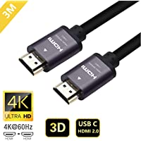 Proxima Direct 4K HDMI Cable, 3M HDMI Cable 2.0a/b High Speed HDR Full HD 4K@60Hz 4:4:4 Resolution 4096 * 2160 Aluminium Alloy Hood Gold Plated Connector for PS4|Xbox 360|Mac|HDTV| Projector|TV Box