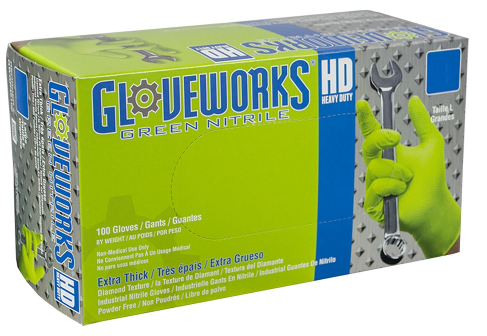 AMMEX - GWGN46100-BX - Nitrile Gloves - Gloveworks - HD, Disposable, Powder Free, Latex Rubber Free, Industrial, 8 mil, Large, Green (Box of 100)