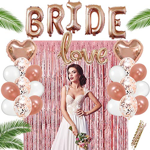 Bachelorette Party Decorations kit Rose Gold Bridal Shower Decoration Supplies Includes Fringe Curtain, 20 Balloons Include 2 Heart & 6 Confetti Balloons & Gold Paper Straws, a Complete Decor Set. -