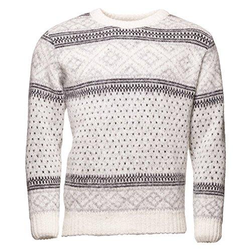 ICEWEAR PETUR Men's Crewneck Sweater Nordic Knit Design 100% Icelandic Wool Long Sleeve Winters Without Zip Sweater | White - -