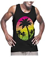 Mens Sunset With Coconut Trees Tank Top T-shirt