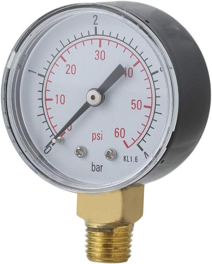 Rouku Práctico Piscina SPA Filtro Manómetro de presión de Agua Mini 0-60 PSI 0-4 Bar Montaje Lateral 1/4 Pulgada Rosca de Tubo NPT TS-50