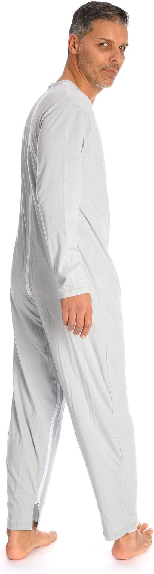 Rekordsan Pijama Antipañal Geriátrico Ideal Hombre en Fresco Algodón con 2 Cremalleras, Talla 2, Pack de 1