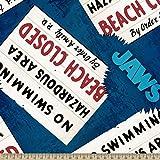 Springs Creative - Fabric 59692-J52331 Jaws Beach Closed,Teal