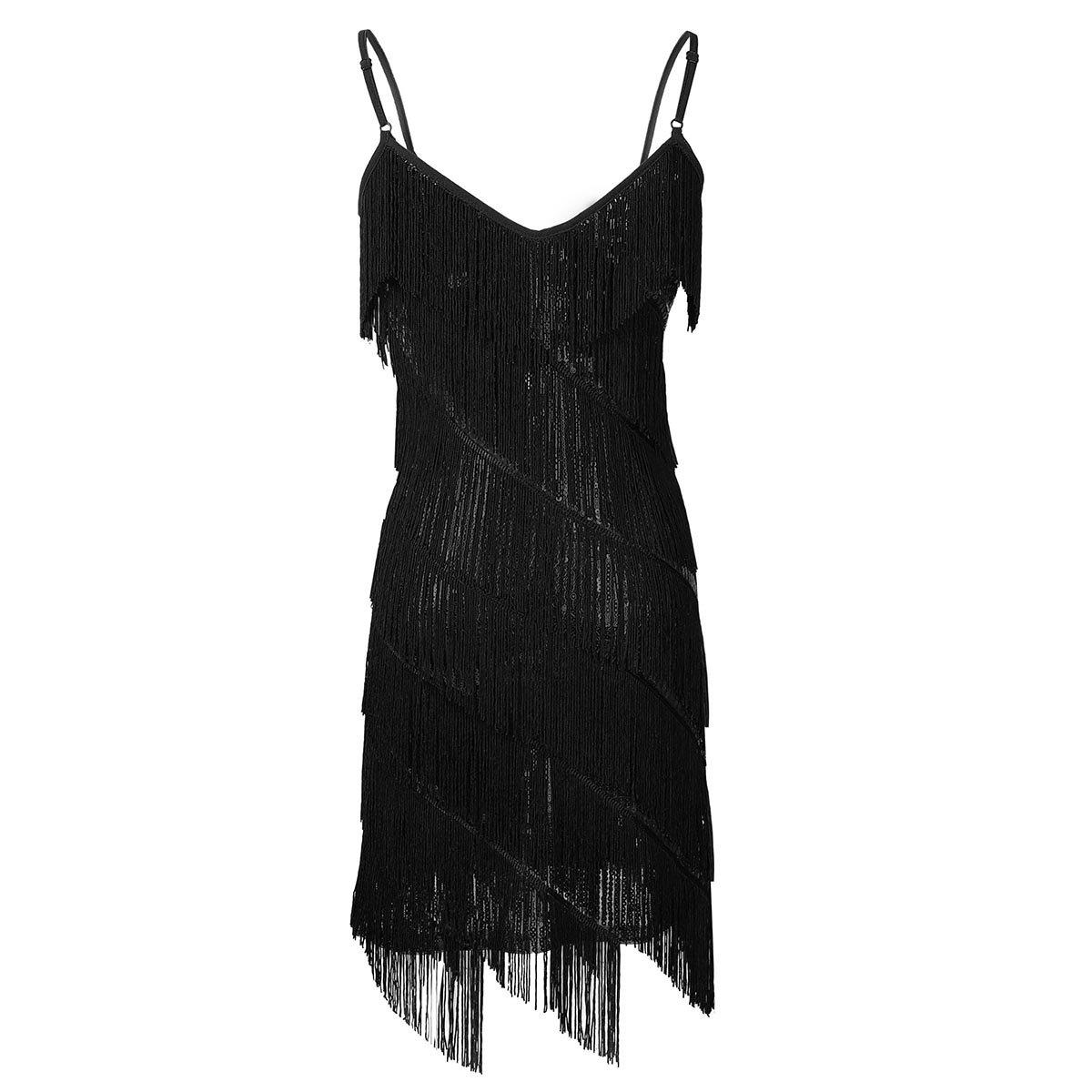 Freebily Womens 1920s Sequin Spaghetti Straps Tassels Fringe Flapper Dress Party Latin Dancewear
