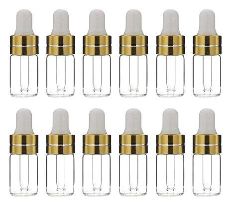 12PCS 3 ML Vidrio Aceite Esencial Botellas Cuentagotas Maquillaje Cosmético Frasco Contenedor Jarra con Eye Glassper