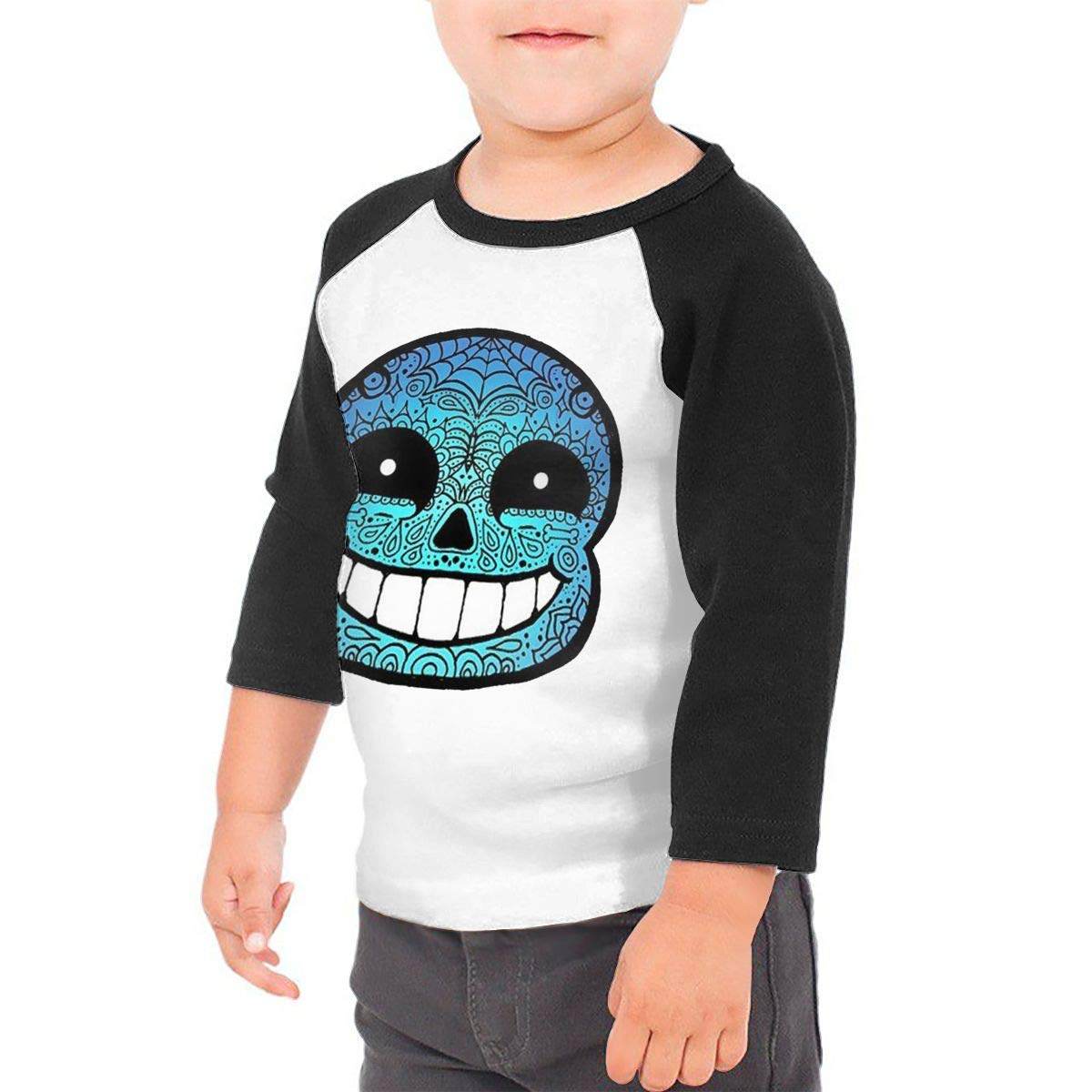Black6Red Casual Sans Sugar Skull Childrens 3//4 Sleeve T-Shirt
