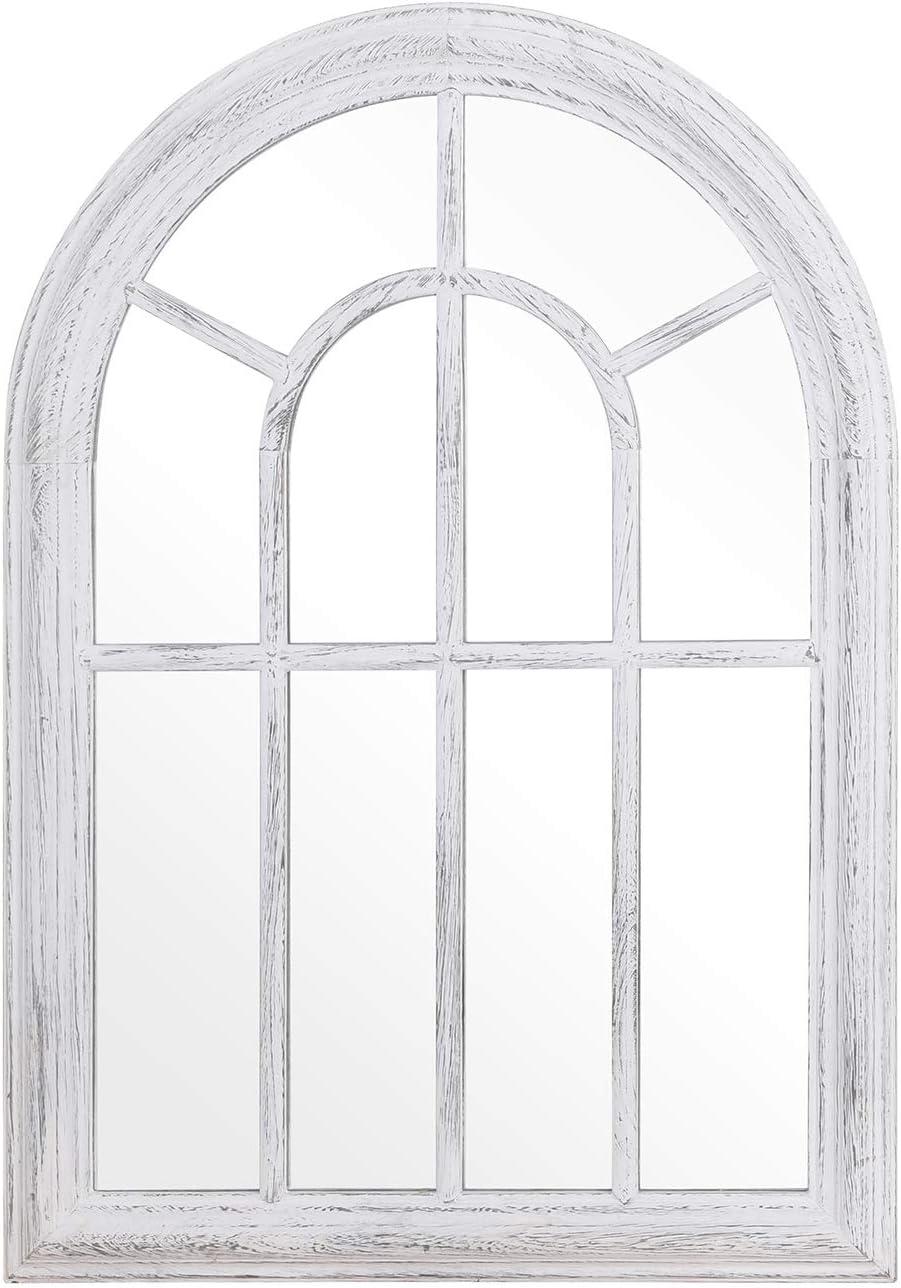 Rose Home Fashion RHF Mirror,Decorative Torched Wall Hanging Mirror,Rustic Wood Frame Arch Mirror, Boho Wall Decor, Farmhouse Decor, 20