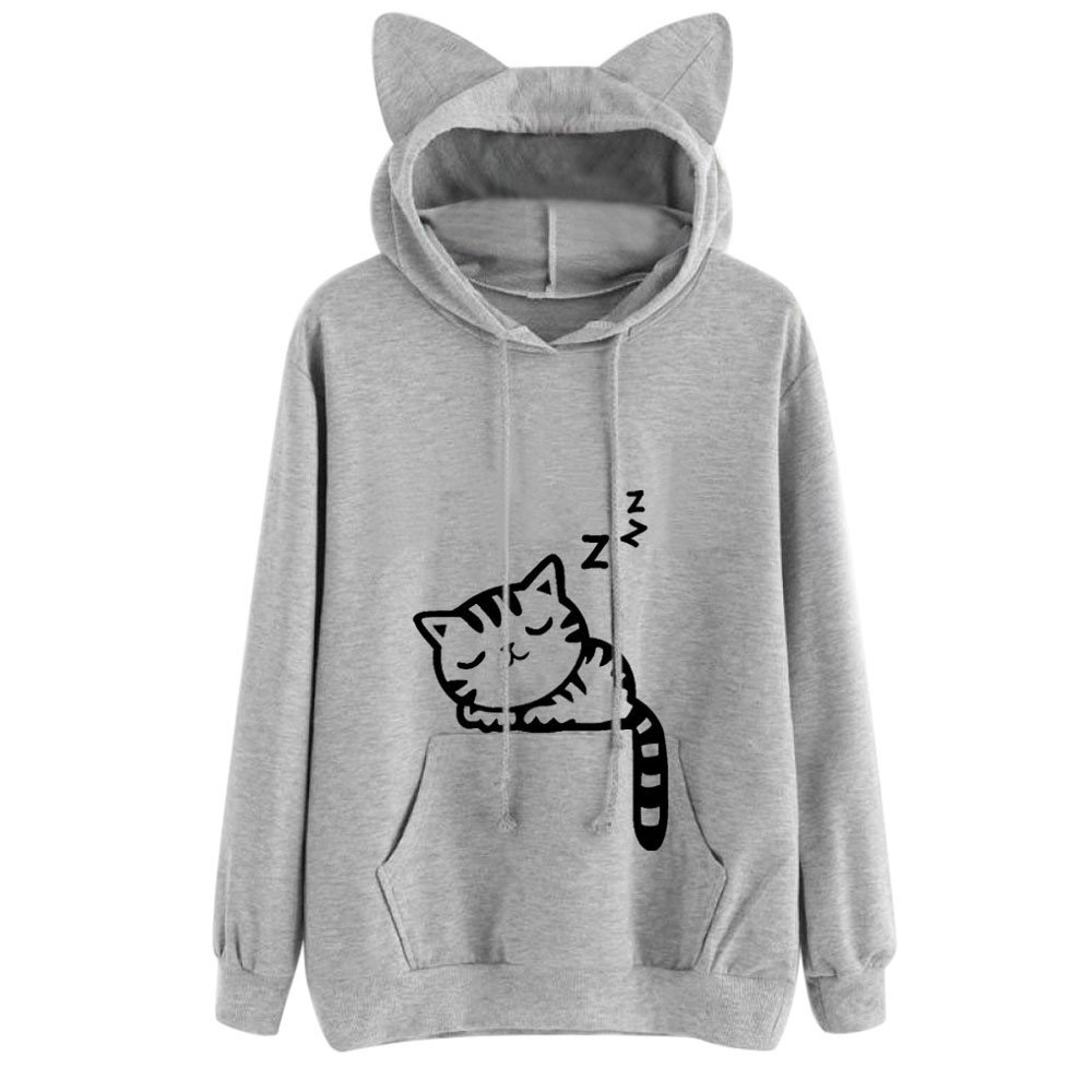 MIRRAY Womens Girls Sweatshirt Autumn Solid Cat Print Cat Eared Hooded Long Sleeve Pullover Jumper Casual Blouse Top with Kangaroo Pockets