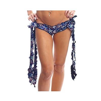 BODYZONE Women's Spangled Stars Ribbon Tie Shorts, Blue, One Size: Clothing