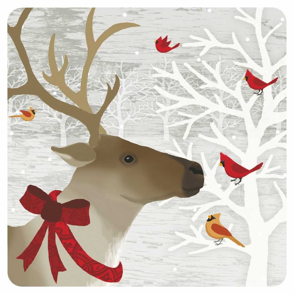Paperproducts Design PPD 87200 Deer Friends Dessert Paper Plates, Eight - 7'' Square plates, Multicolored