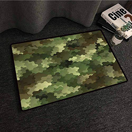 Mkedci Door mat Camo Frosted Glass Effect Hexagonal Abstract Being Invisible Woodland Print Machine wash/Non-Slip W35 xL59 Green Pale Green and Brown