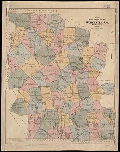 Historic Map | ca. 1886 New bicycle & driving road map of Worcester Co., Massachusetts | Antique Vintage - 30 Worcester Road