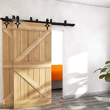 CCJH 6.6FT-200cm Bypass Herraje para Puerta Corredera Kit de Accesorios para Puertas Correderas Rueda Riel Juego para Dos Puertas de Madera: Amazon.es: Bricolaje y herramientas