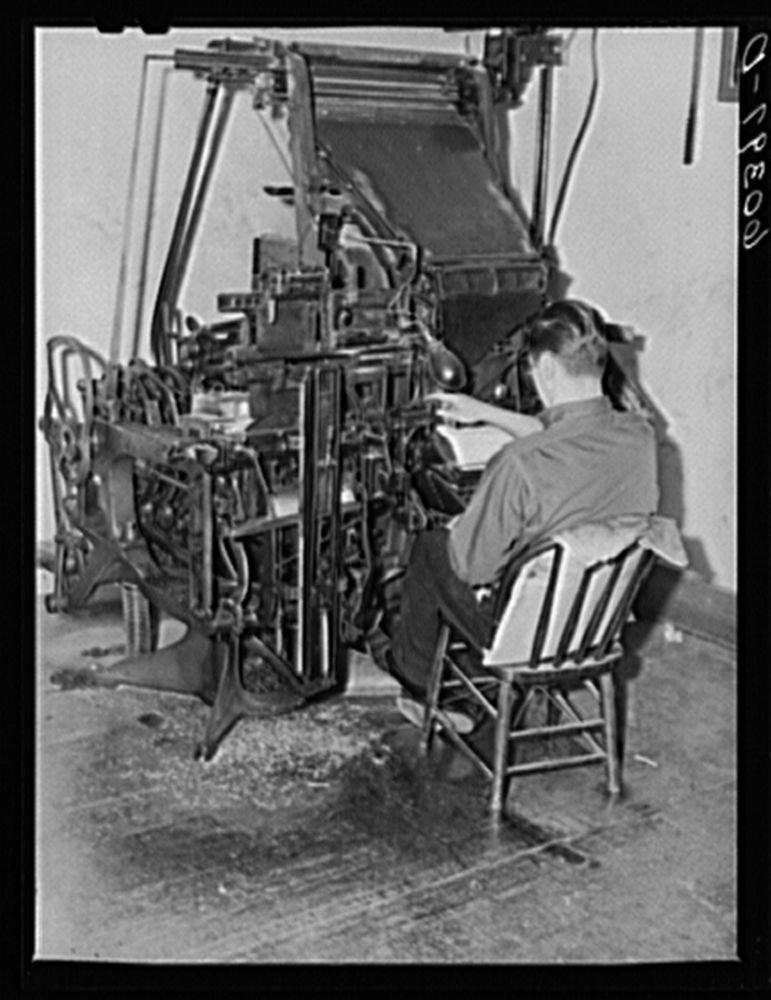 1939 Photo Operating linotype machine. Office of the Valley News. Browns Valley, Minnesota Location: Browns Valley, Minnesota, Traverse County