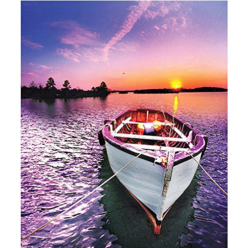5D Diamond Painting Round Drill Lake Sailboat?Arts 3D Diy Diamond Embroidery With Rhinestones Cross Stitch Kit Crafts Decor 15.7X19.7 Inches(Frameless)