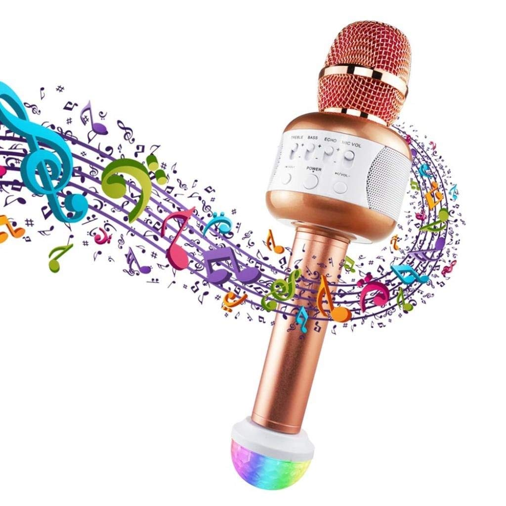 Rsiosle Wireless Bluetooth Karaoke Microphone with Mini USB Disco Lights Portable KTV Music Player Singing Mic Compatible with Android and iOS ( Color : Black ) by Rsiosle (Image #2)