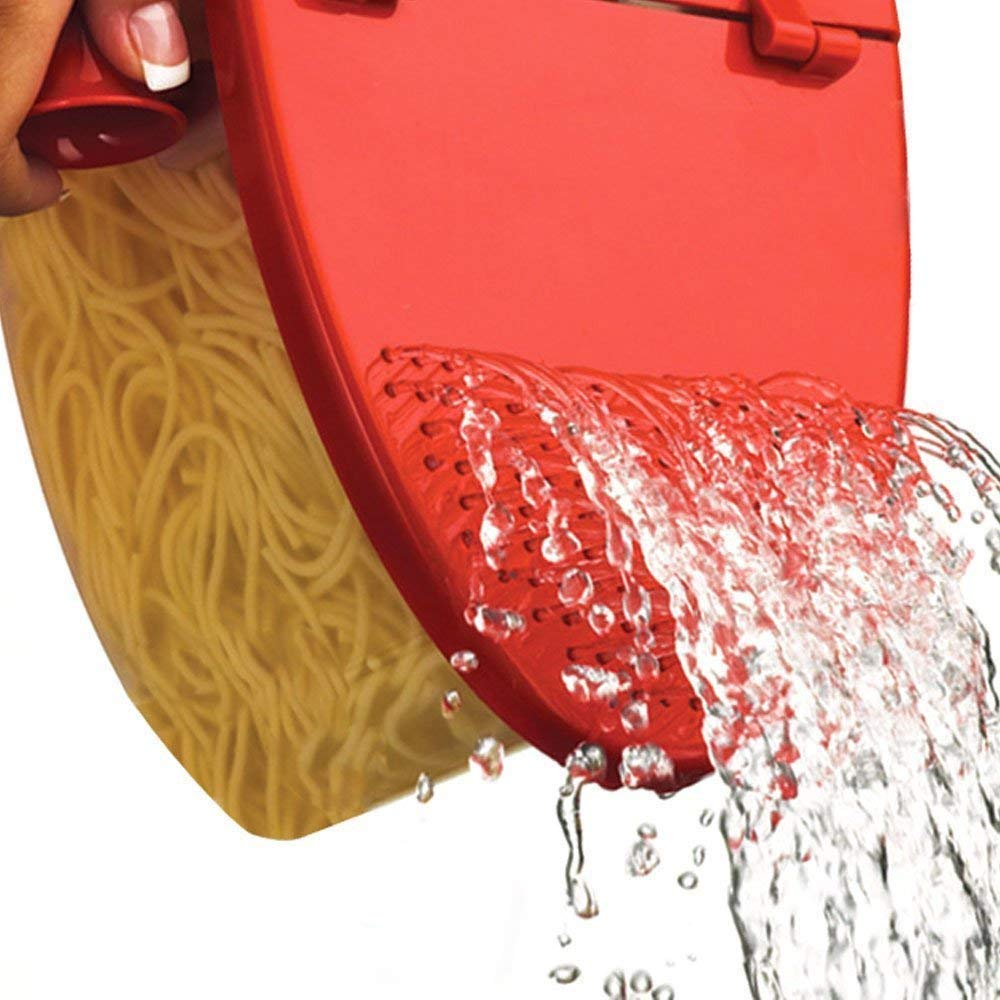 Hot Pasta Boat   Versatile Microwave Pasta Cooker Vegetable Steamer Boat Strainer with Recipe Book   Sturdy Food Grade Heat Resistant PP Material   Effortless Usage Anti Mess No Stick Colander   Massive Capacity Up To 5 Pound   Vibrant Red by Hot Pasta Boat (Image #5)