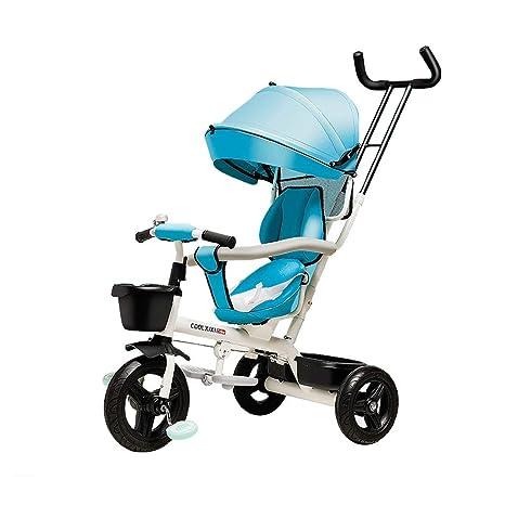 Carro de bebé 4 en 1 Cochecitos para niños Plegables Niño Trike Toldo Triciclo Multifuncional para