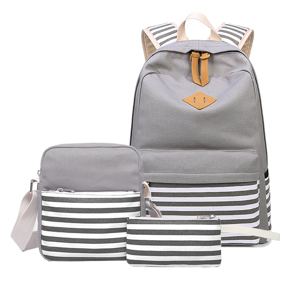 Abshoo Causal Canvas Stripe Backpack Cute Lightweight Teen Backpacks For Girls School Bag Set (Grey Set) by abshoo
