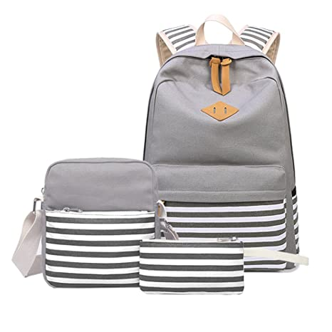 671c2a72b2 Abshoo Causal Canvas Stripe Backpack Cute Lightweight Teen Backpacks for  Girls School Bag Set (Grey Set)  Amazon.in  Bags