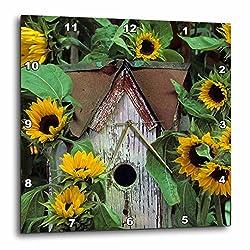 3D Rose USA-Pennsylvania. Birdhouse and Garden Sunflowers Wall Clock, 10 x 10