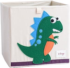 DODYMPS Foldable Animal Canvas Storage Toy Box/Bin/Cube/Chest/Basket/Organizer for Kids, 13 inch (Dinosaur)