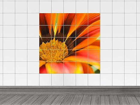 Piastrelle adesivo piastrelle immagine arancione fiore rosso per