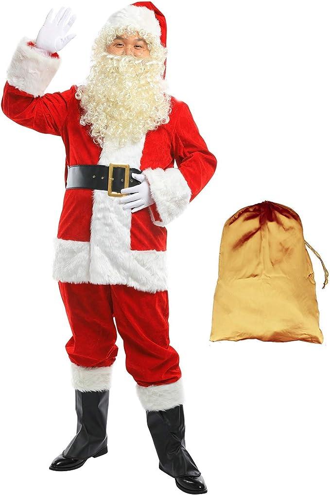 Adult 9 PC DELUXE Regency Plush SANTA SUIT Costume XXL
