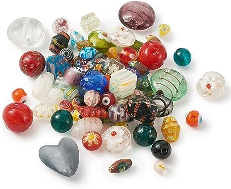 2 beads - one pair Sweet Hearts and Flowers ~ MURANO Lampwork Charm Beads