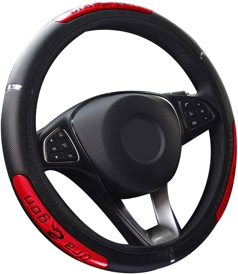 Car777 Car Steering Wheel Cover 38cm Fashion Dragon Design Faux Leather Car Steering Wheel Cover Interior Decor Red