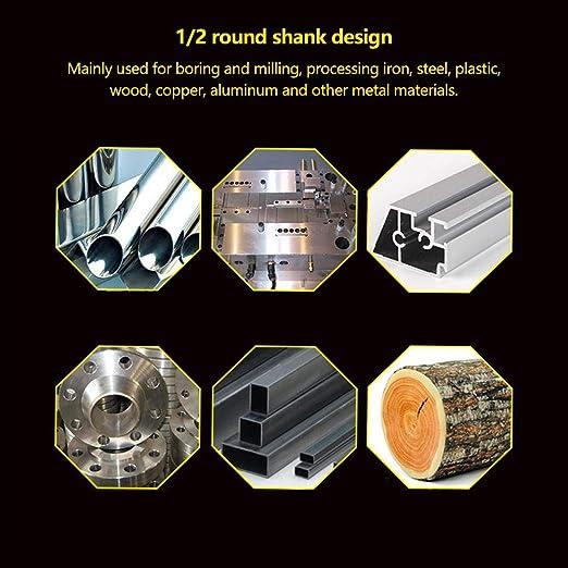 30mm plana lisa Punta de 1//2 pulgada Broca Brocas de acero de alta velocidad Herramienta de broca para metal de madera para el procesamiento de fresado y fresado Hierro Acero Broca