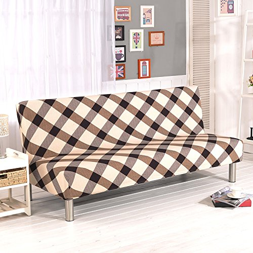- Yunhigh Armless Sofa Slipcover Stretch Sofa Bed Cover Protector Elastic Spandex Modern Simple Folding Couch Sofa Shield Futon Cover Plaid