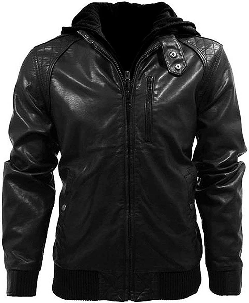 Trailblazerzz Mens Leather Jackets Motorcycle Bomber Biker Real Lambskin Hoodie Leather Jacket for Men Detachable Hood