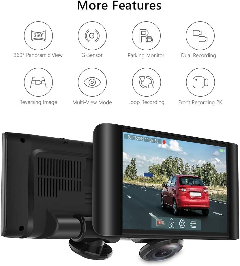 AKASO 360 Degree Dash Camera for Cars – 2K Full View Dual Dash Cam Front and Rear Car DVR Dashboard Recorder with 5 Inch Touch Screen G-Sensor Parking Monitor Loop Recording 32GB Card Included P4