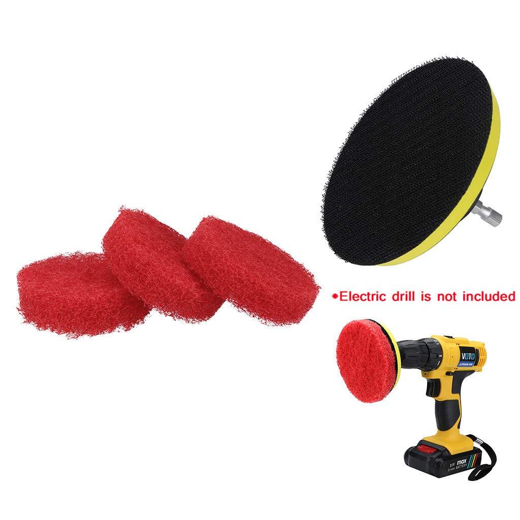 Aviat 3Pcs Non-Scratch Nylon Power Scrub Pad + Velcro Backing Pad Cleaning Drill Brush Set Auger Brush Kit Bathroom Kitchen Cleaner Tool