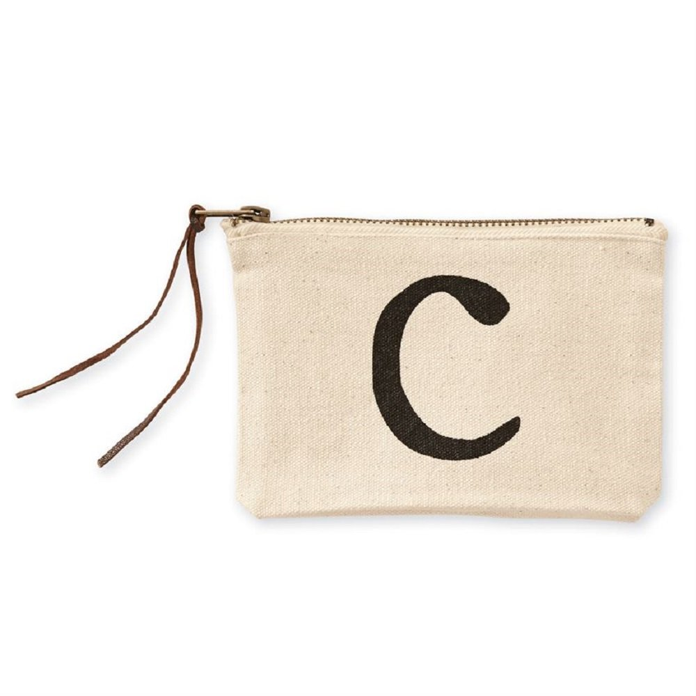Mud Pie C Initial Canvas Cosmetic Pouch