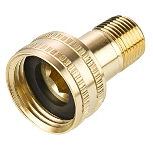 "Parker 88GH-12-6 Garden Hose Fitting, Swivel Female Garden Hose to Male Pipe, Brass, Hose Thread and Male Pipe Swivel Connector, 3/4"" and 3/8"""