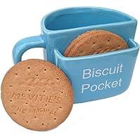 Tazza con tasca porta biscotti, grande, di colore blu