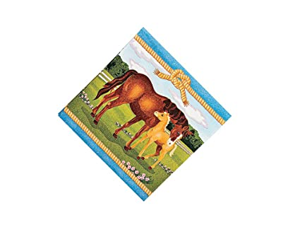 Amazon.com: 16 Mare and Foal Horse Small Party Napkins | Paper ...