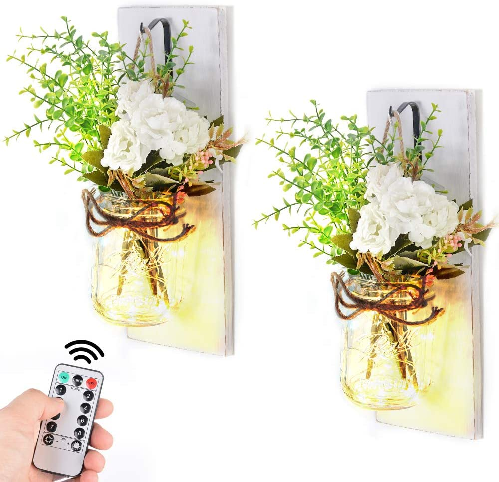Mason Jar Sconces Rustic Wall Sconces with Remote Control LED Fairy Lights, Vintage Wrought Iron Hooks ,Silk Hydrangea, Decorative Flower for Home Kitchen Dining Room Decor Set of Two (7# with remote)