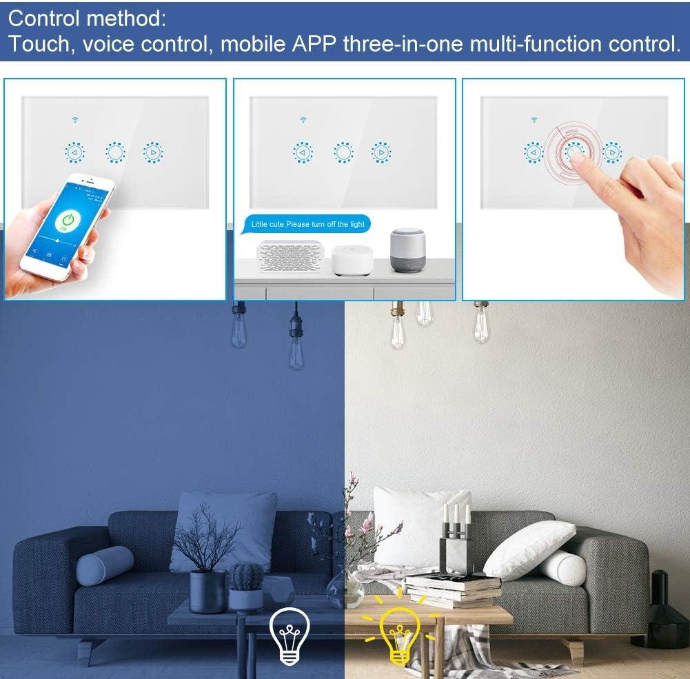 WiFi Interruptor Inteligente Control Multifunci/óN Interruptor con Control de Voz Funci/óN de Tiempo,Adecuado para Alexa Google y Ventilador de Techo